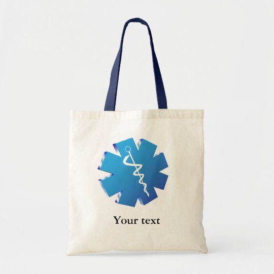 Blue caduceus medical gifts tote bag