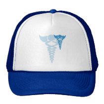Blue caduceus medical gifts trucker hat