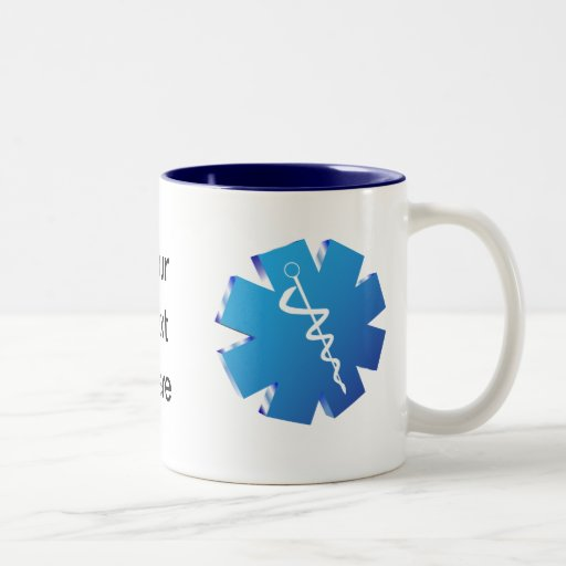 Blue caduceus medical gifts Two-Tone coffee mug