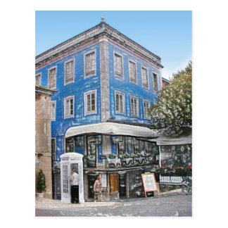 Blue Cafe on the Corner Postcard