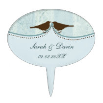 blue cage, love birds personalized cake picks
