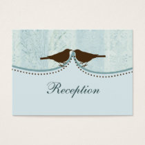 blue cage, love birds wedding reception cards