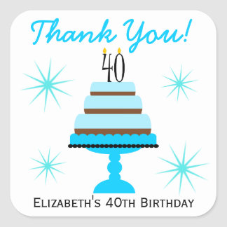 Blue Cake 40th Birthday Party Favor Stickers