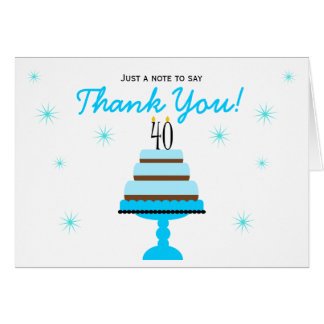 Blue Cake 40th Birthday Thank You Note Card