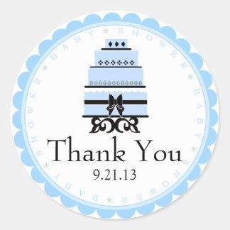 Blue Cake Pretty Baby Shower Classic Round Sticker