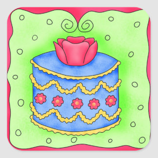 Blue Cake with Rose Sticker