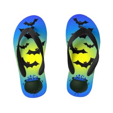 Halloween Themed Blue Caldron and Bats Kid's Flip Flops