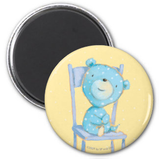 Blue Calico Bear Smiling on Chair 2 Inch Round Magnet