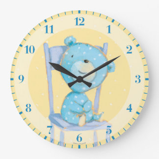 Blue Calico Bear Smiling on Chair Clocks