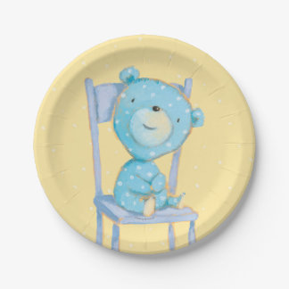 Blue Calico Bear Smiling on Chair Paper Plate