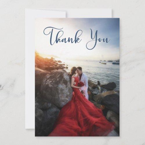 Blue Calligraphy Script Photo Wedding Thank You