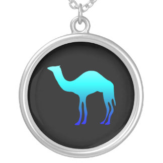Blue Camel Round Pendant Necklace