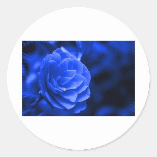 blue camelia classic round sticker