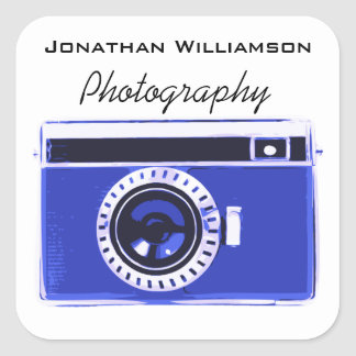 Blue Camera Photography Business Square Sticker