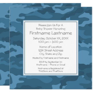 Blue Camo Baby Boy Shower or Party Card