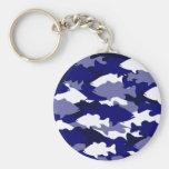 Blue Camo Bass Fishing Basic Round Button Keychain