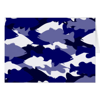 Blue Camo Bass Fishing Stationery Note Card