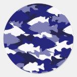 Blue Camo Bass Fishing Classic Round Sticker