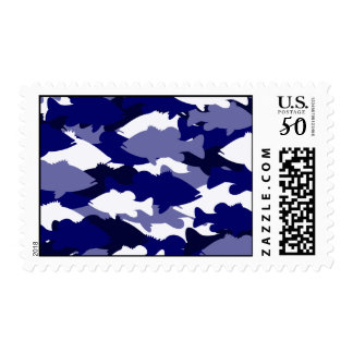 Blue Camo Bass Fishing Postage