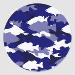 Blue Camo Bass Fishing Round Stickers