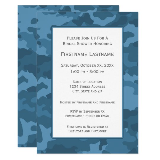 blue camo bridal shower or engagement party invitation