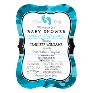 Blue Camo, Camouflage Baby Shower Card