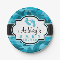 Blue Camo, Camouflage Baby Shower Paper Plate