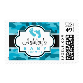 Blue Camo, Camouflage Baby Shower Postage