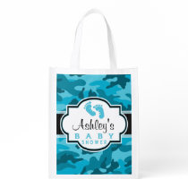 Blue Camo, Camouflage Baby Shower Reusable Grocery Bag
