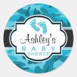 Blue Camo, Camouflage Baby Shower Round Stickers