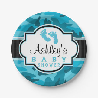 Blue Camo, Camouflage Baby Shower 7 Inch Paper Plate