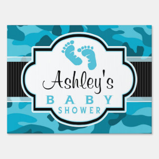 Blue Camo, Camouflage Baby Shower Yard Sign