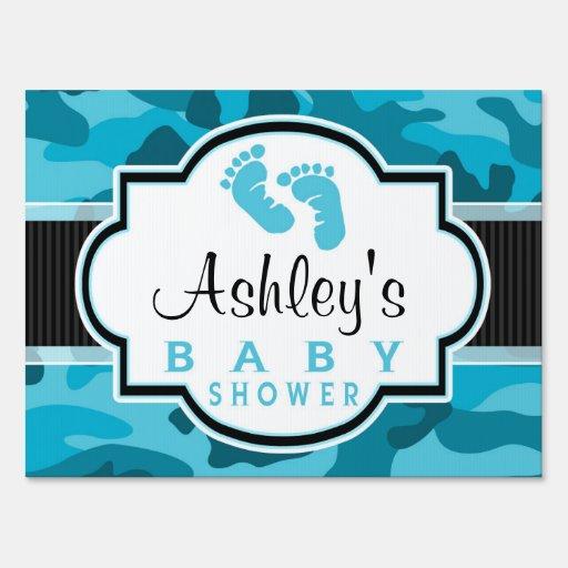blue camo camouflage baby shower yard sign zazzle