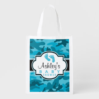 Blue Camo, Camouflage Baby Shower Market Totes