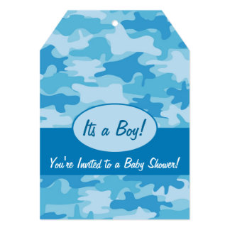 Blue Camo Camouflage Boy Baby Shower Invitation
