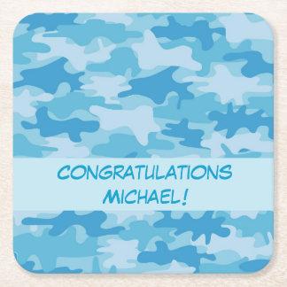 Blue Camo Camouflage Congratulations Name Custom Square Paper Coaster