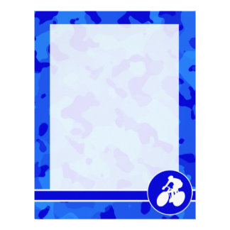 Blue Camo; Camouflage Cycling Letterhead Template