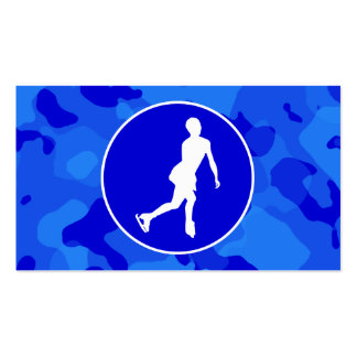 Blue Camo; Camouflage Figure Skating Business Card Templates