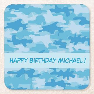 Blue Camo Camouflage Happy Birthday Name Custom Square Paper Coaster