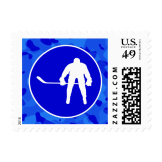 Blue Camo; Camouflage Hockey Postage Stamps