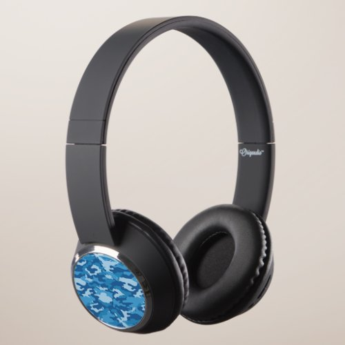 Blue Camo Camouflage Military Army Pattern Headphones
