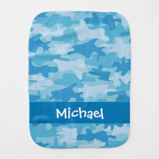 Blue Camo Camouflage Name Personalized Baby Burp Cloth