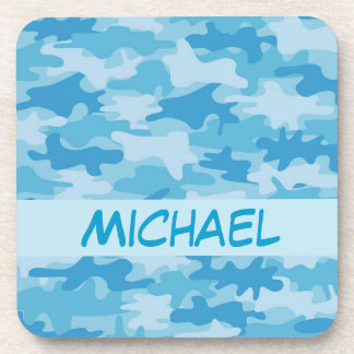 Blue Camo Camouflage Name Personalized Beverage Coaster