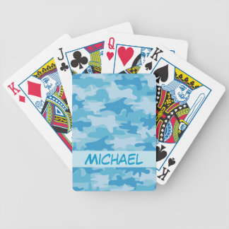 Blue Camo Camouflage Name Personalized Bicycle Playing Cards