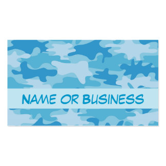 Blue Camo Camouflage Name Personalized Business Card
