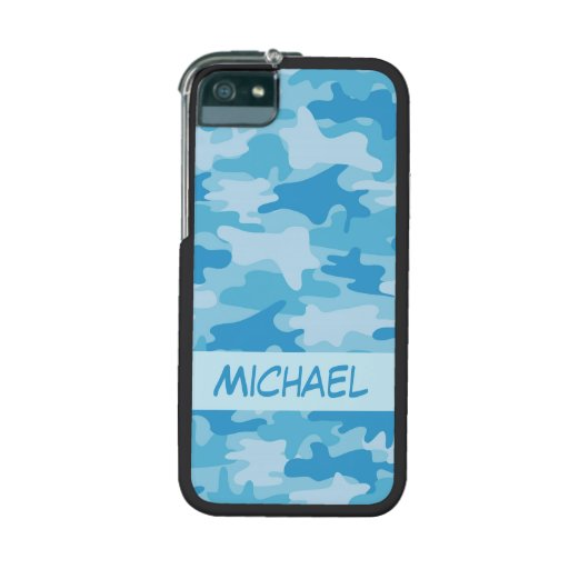 Blue Camo Camouflage Name Personalized iPhone 5/5S Case
