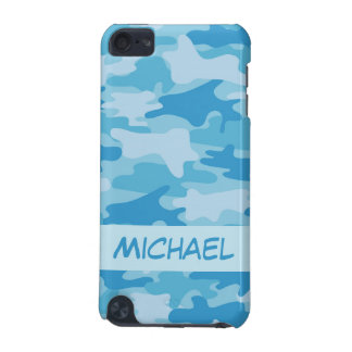 Blue Camo Camouflage Name Personalized iPod Touch (5th Generation) Covers