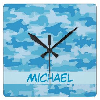 Blue Camo Camouflage Name Personalized Square Wallclocks