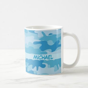 Coffee Themed Blue Camo Camouflage Name Personalized Coffee Mug