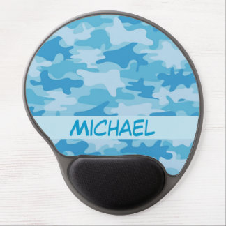 Blue Camo Camouflage Name Personalized Gel Mouse Pad
